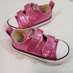 Infant Girls Sz 6 Metallic Glitter Pink Converse